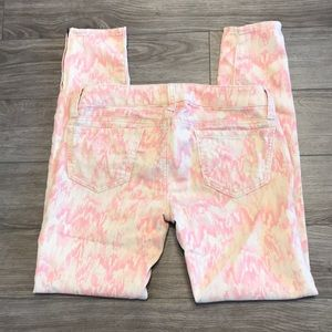 American Eagle pink & cream jeggings size 0